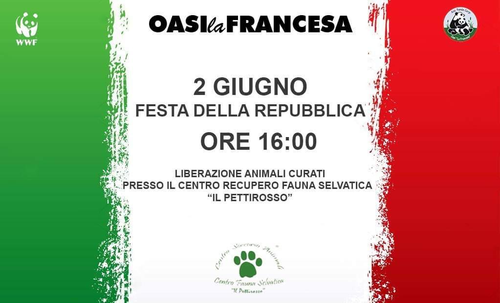 02 Giugno 2019 – FESTA DELLA REPUBBLICA – PRESSO OASI LA FRANCESA – ORE 16.00